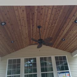 Roof with cedar ceiling over new deck