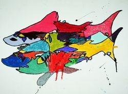 Nail Shark Nail Polish on Canvas Board , 14 x 11 , Sold