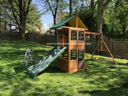 big backyard treasure trove swing set installation in gaithersburg MD