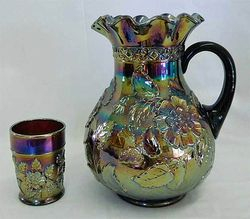 Rambler Rose pitcher and tumbler, purple