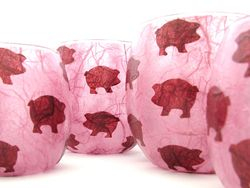 Rose Pink and Burgundy Pigs