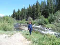 Lisa at the White River on Welder Ranch