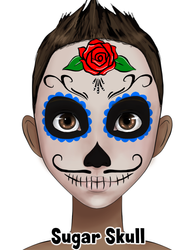 Rose and Blue Sugar Skull Design