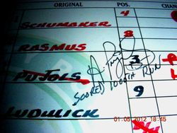 "Albert Pujols Signed ""Scored 1000th Run"" Lineup Card 6-19-2009 Versus Kansas City"