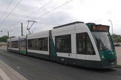 Siemens Combino no. 409 heading North on Friedrcih-Ebert-Straße