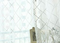 Lattice White Embroidered Organza 96 inch Sheer Curtain Panel