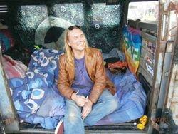 Chez in his van.
