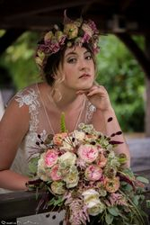 Beautiful Wedding hair  soft romantic curls and elegant updo with Flower Crown