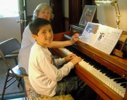 Matthew loves to play the piano