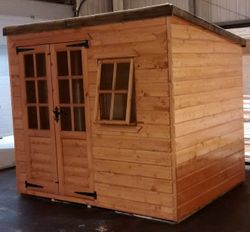Pent Shed (8' x 6') Georgian Style Windows And Doors