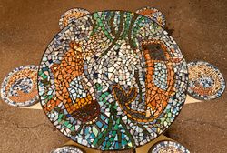 Table-top and stools mosaic