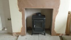 setting stove in place