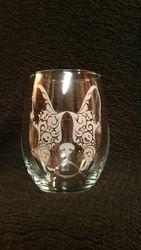 Frenchie ~ Boston Terrier ~ Stemless wine glass