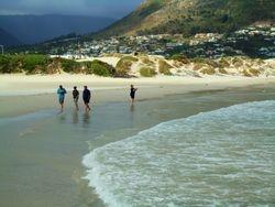 Walking along the shoreline