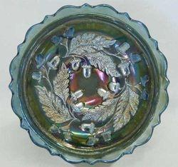 "Acorn 7"" deep round bowl, blue"