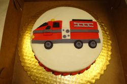 6 inch round with flat fire truck $65