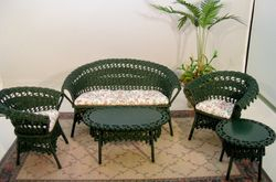 Spruce green wicker furniture