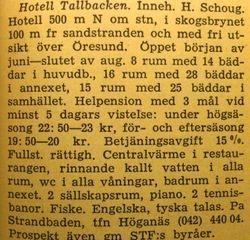 Hotell Tallbacken 1960