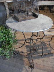 #15/221 Metal Garden Table Zinc Top SOLD