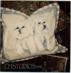 Bichons Painted On A Throw Pillow