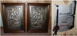 Du metaliniai paveikslai. 2 vnt. Kaina po 27
