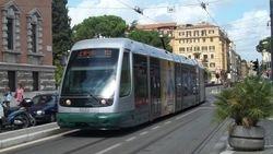 Fiat II tram #9222, heading South along Via Flaminia.