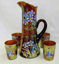 (Enameled) Forget-me-not with prism band tankard water set, amethyst, Fenton