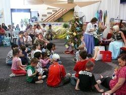 Children recieving their Christmas present