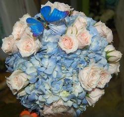 Blue, Pink & Butterfly Bouquet