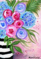 Flowers with Zebra Vase