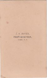 J. S. Hovey, photographer of Rome, New York - back