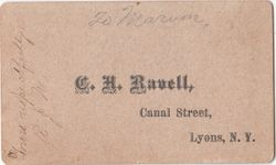 C. H. Ravell, photographer of Lyons, NY - back