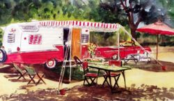 Red Convertible & Shasta Trailer at Camp Shasta