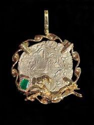 Atocha coin with scuba diver setting, emerald, and diamonds