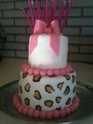 White & Pink Leopard Cake