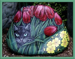Black Cat  in Tulips - Front