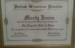 Marty Jones hall of Fame award.