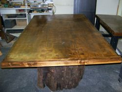 Douglas Fir table on pedestals
