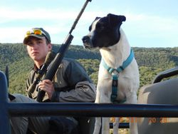 Jake and the hunting camp dog