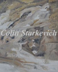 """Ice Flow in Coulee (16 by 20"""" oil on canvas) Collection of Artist"""