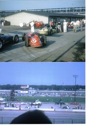 Speedway 1961, 1st day qualifying + Tombstone Life car, 1964 wreck