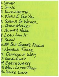Setlist for show at unknown venue, likely Milwaukee, Mid 1990?