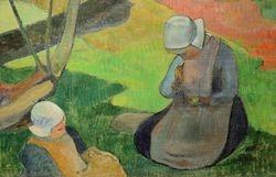 Gauguin, Landscape with Two Breton Women, 1889, detail, Boston