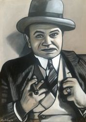 """Edward G. Robinson"", as ""Little Caesar"", ""Rico"", ""Hollywood Legend"", ""Film Actor"", ""Movie Actor"", in Film ""Little Caesar"", acrylic on canvas, by Fin Collins, part of The Film Icons Collection www.filmiconsgallery.com"