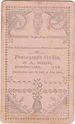 S. A. Rice, photographer of Roodhouse, IL - back