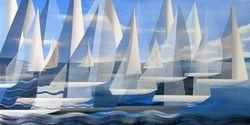Sailing In White Off Newport,RI