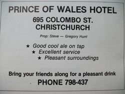 Advert for Prince of Wales Hotel