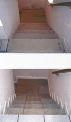 Tile Stairs to Basement: BEFORE & AFTER.