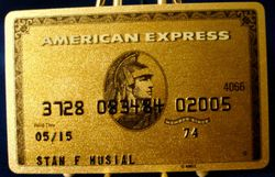 STAN MUSIAL's OWN AMERICAN EXPRESS GOLD CARD Exp: 05/15