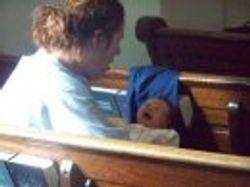 "Jen with baby ""Jesus"""